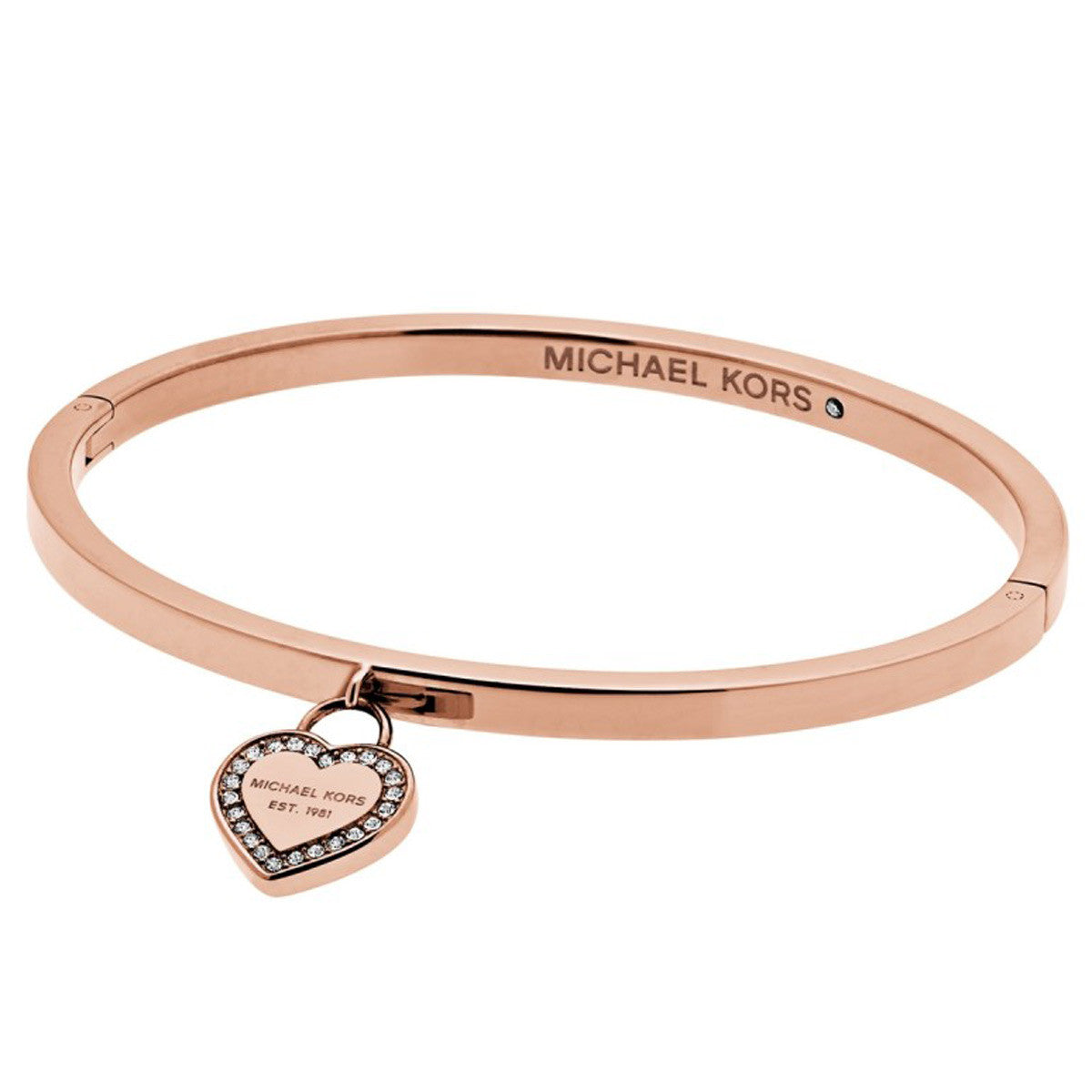 Michael Kors MKJ5039791 Women's Symbols Crystal Accented Rose Gold Steel Charm Bangle Bracelet