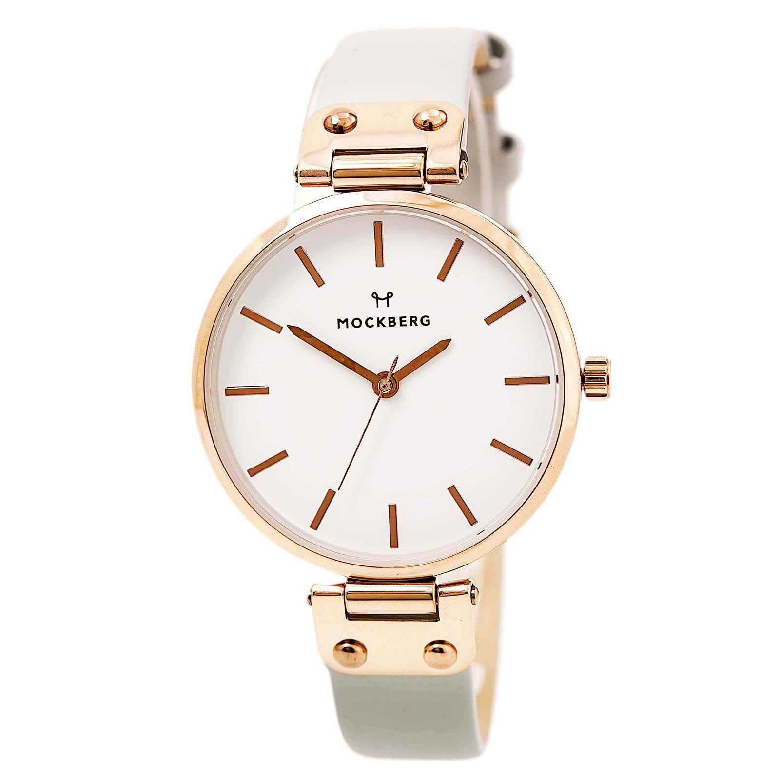 Mockberg MO1004 Women's Alice White Dial Rose Gold Steel Grey Leather Strap Watch