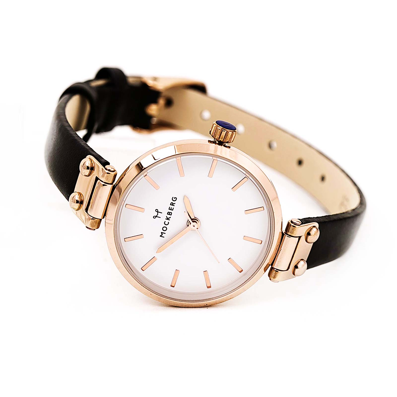 Mockberg MO1401 Women's Sigrid Petite White Dial Rose Gold Steel Black Leather Strap Watch