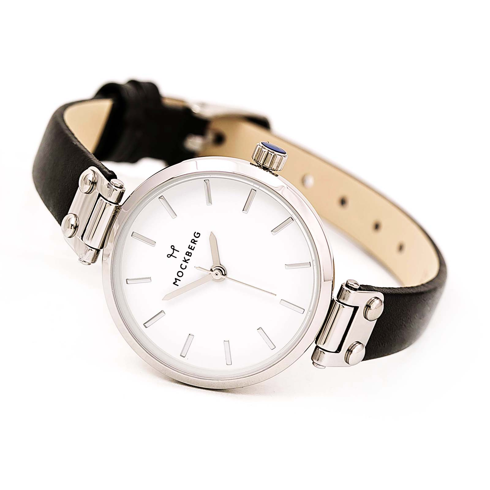 Mockberg MO1402 Women's Astrid Petite White Dial Black Leather Strap Quartz Watch