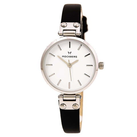 Mockberg MO1003 Women's Nora White Dial Yellow Gold Steel Brown Leather Strap Watch