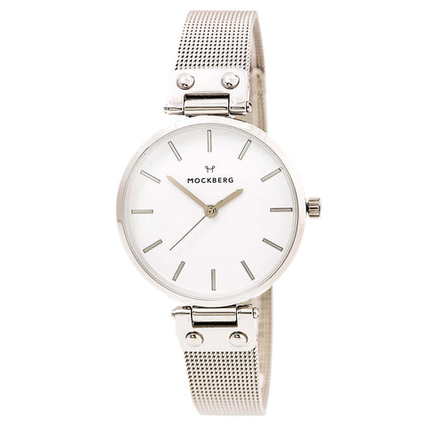 Mockberg MO1001 Women's Sigrid White Dial Rose Gold Steel Black Leather Strap Watch
