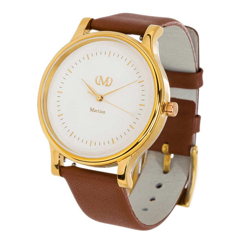 Martian MPS01CL054 Woman's CL05 mVip Cream Dial Luggage Brown Leather Strap Smartwatch