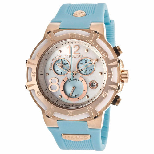 MULCO BLUE MARINE MOTHER OF PEARL DIAL CHRONOGRAPH LIGHT BLUE RUBBER LADIES WATCH MW1-29903-043