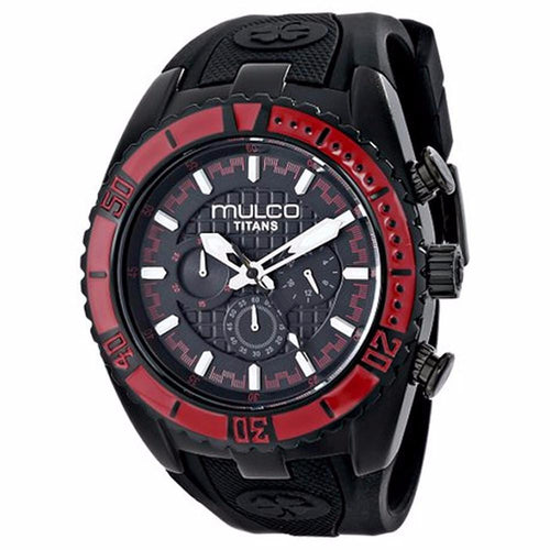 MULCO Titans Wave Chronograph Black Dial Black Silicone Unisex Watch MW5-1836-065