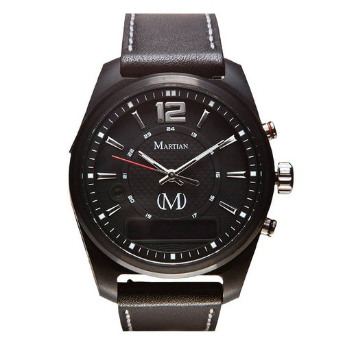 Martian MVR03AE011 Men's AE01 mVoice Black Ana-Digi Dial Black Leather Strap Smartwatch