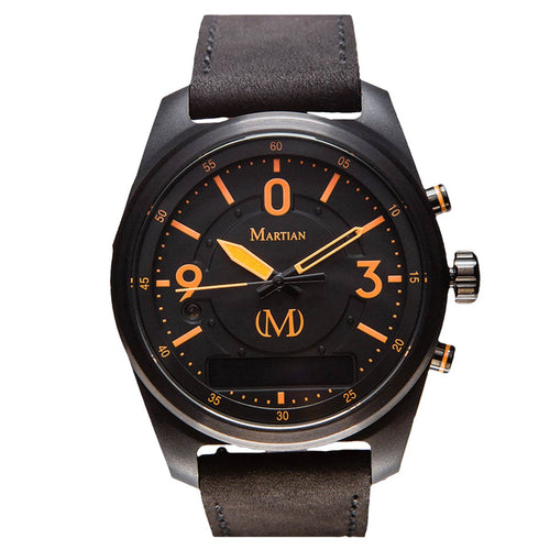 Martian MVR03PL021 Men's PTL01 mVoice Black Ana-Digi Dial Black Leather Strap Smartwatch