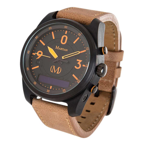 Martian MVR03PL031 Men's PTL02 mVoice Black Ana-Digi Dial Light Brown Leather Strap Smartwatch