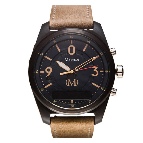 Martian MVR03PT011 Men's PT01 mVoice Indigo Blue Ana-Digi Dial Light Beige Leather Strap Smartwatch