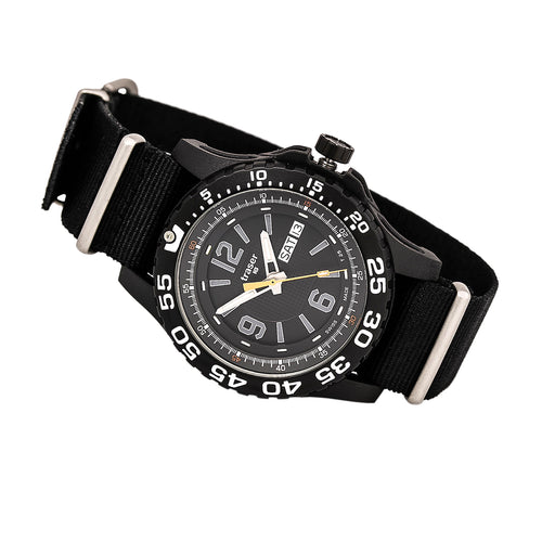 Traser P6600.41F.OS.01 Men's Extreme Sport Diver Black Plated Steel Black Dial Nylon Strap Watch