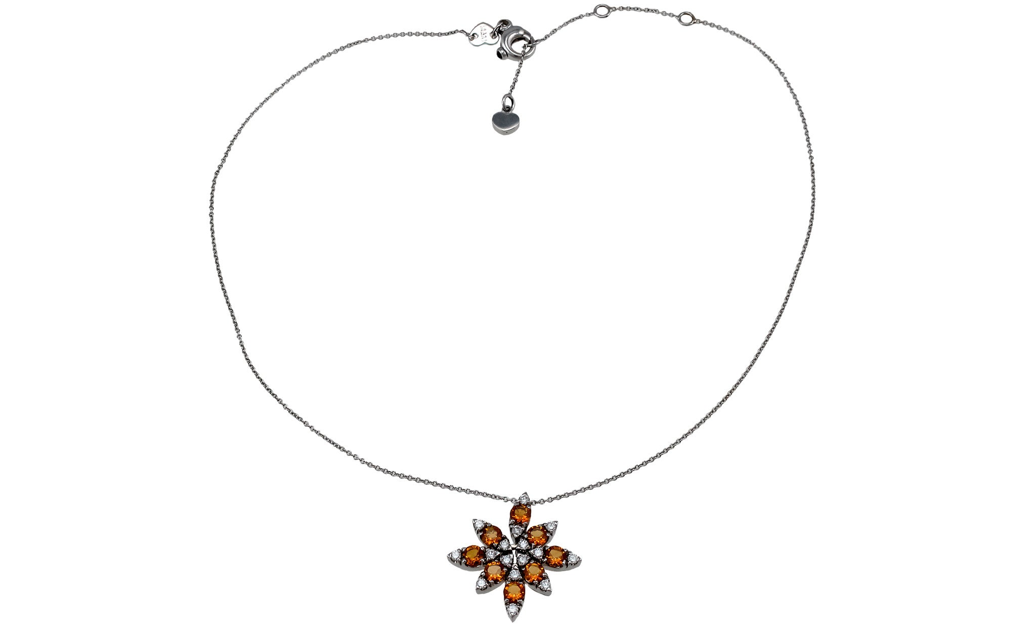 Little Rosette Ghirl 18K White Gold Necklace (Gold: 10.46 g; Diamonds: 0.55 ct. twd. / Sapphires: 0.06 ct. tw. / Topaz: 1.56 ct. tw.) - Chain Length: 16.5 in