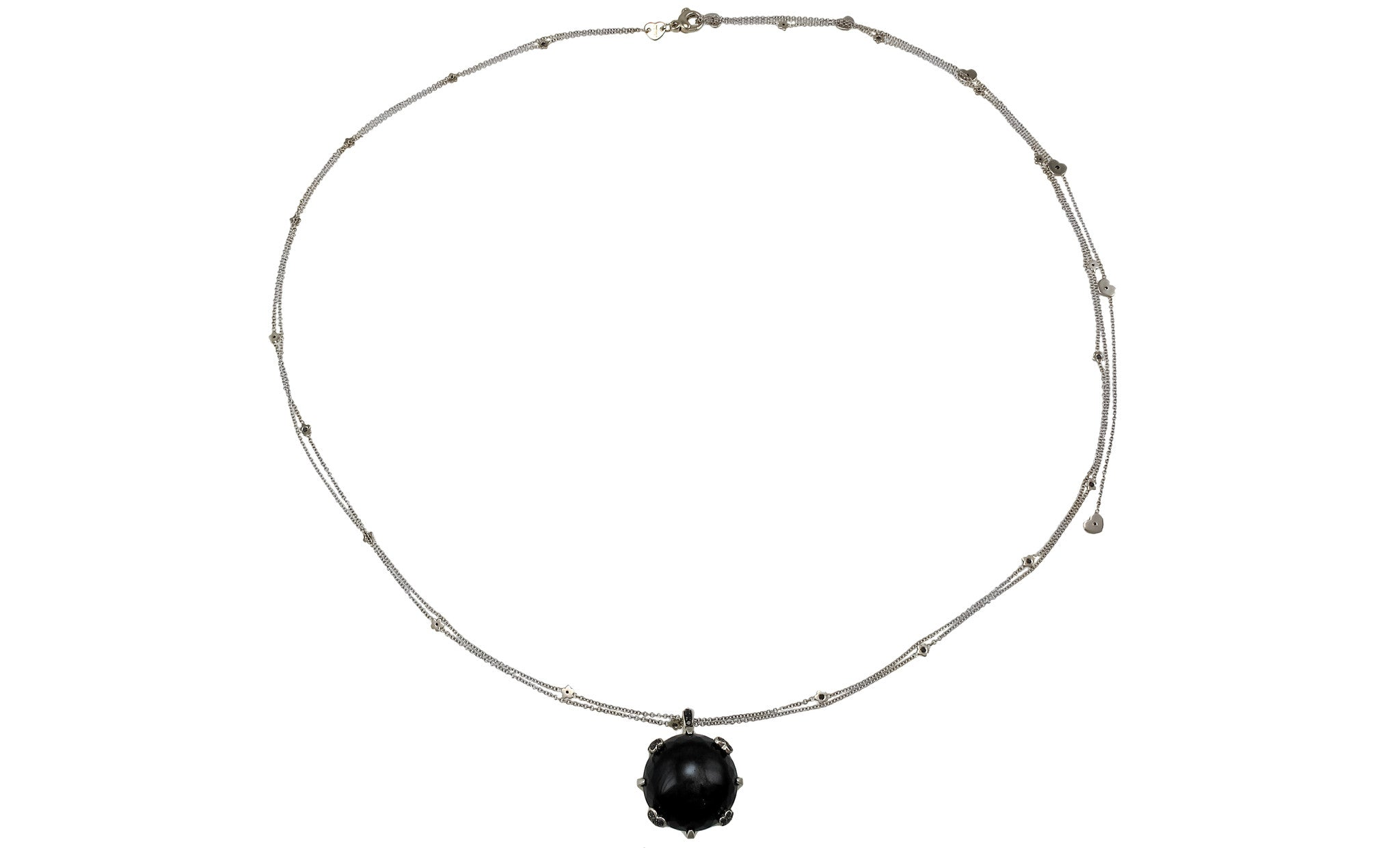 Sissi18K White-Black Gold Round Necklace (Gold: 24.68 g; Diamonds: 1.97 ct. twd./ Sapphires: 0.06 ct. tw. / Onyx: 10.81 G) - Chain Length: 37 in