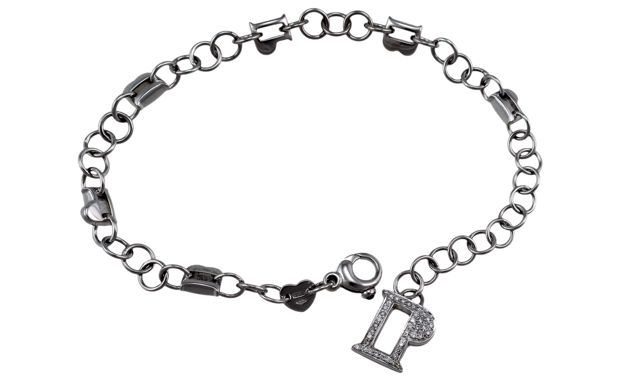 Charm 18K White Gold Bracelet (Gold: 17.55 g; Diamonds: 0.31 ct. twd. / Sapphires: 0.06 ct. tw.)
