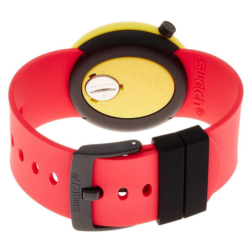 Swatch PNJ100 Unisex Poptastic Red Dial Red & Yellow Silicone Strap Watch