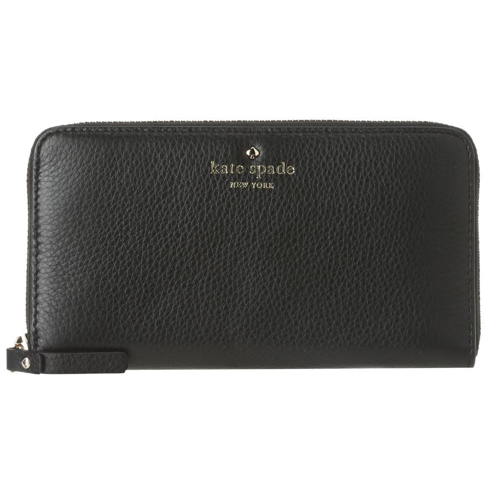 Kate Spade PWRU1801-001 Women's Cobble Hill Lacey Zip-Around Black Pebbled Leather Wallet