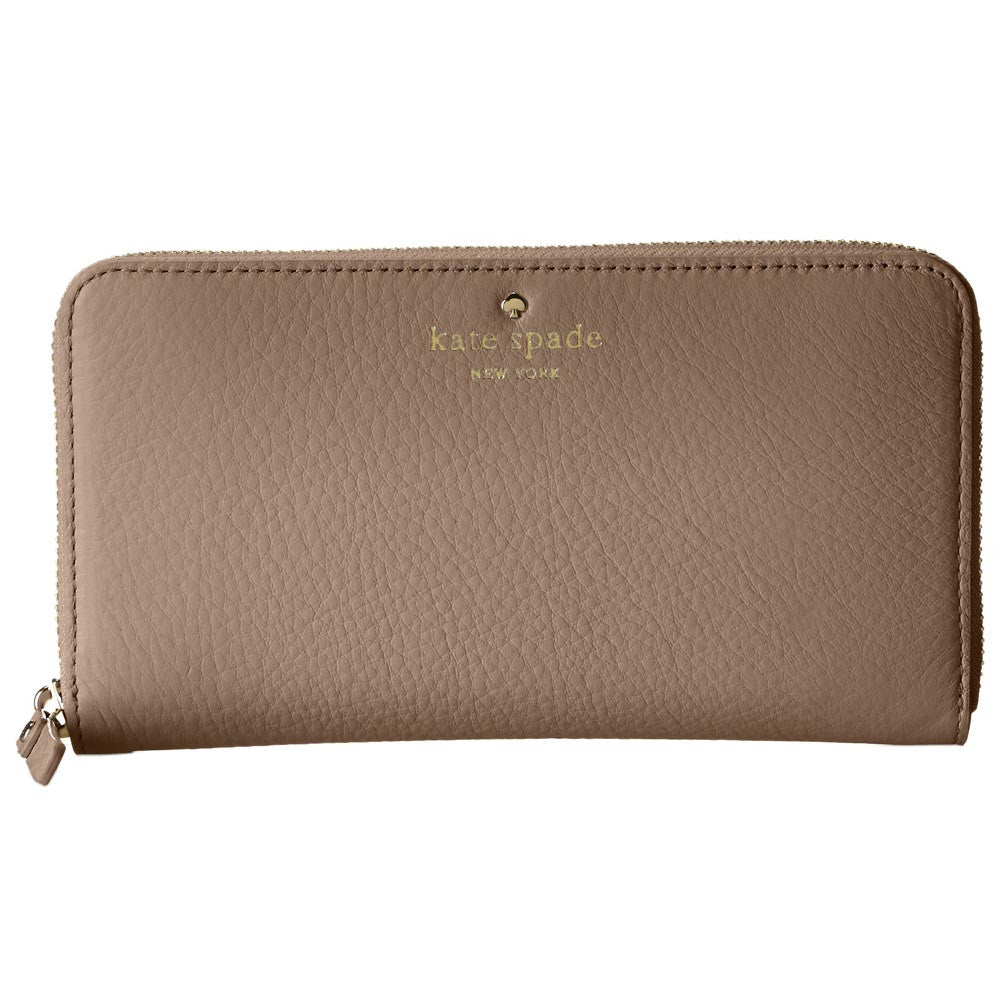 Kate Spade PWRU1801-178 Women's Cobble Hill Lacey Zip-Around Warm Putty Pebbled Leather Wallet
