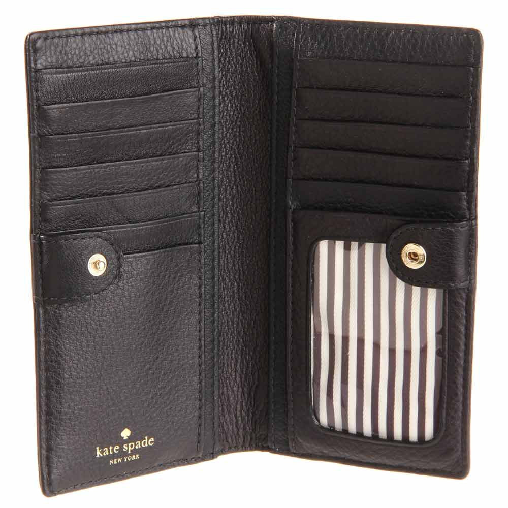 Kate Spade PWRU2182-001 Women's New York Cobble Hill Stacy Black Wallet