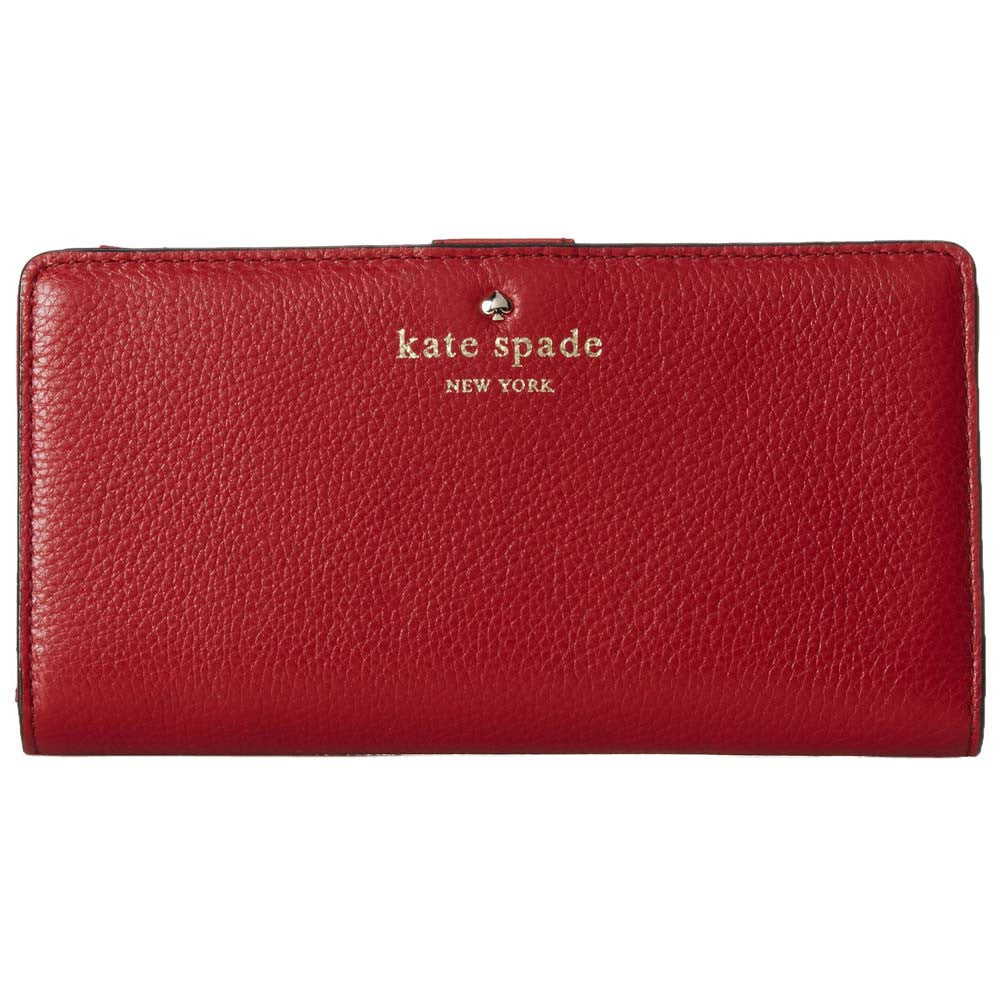 Kate Spade PWRU2182-616 Women's Cobble Hill Stacy Dynasty Red Pebbled Leather Wallet