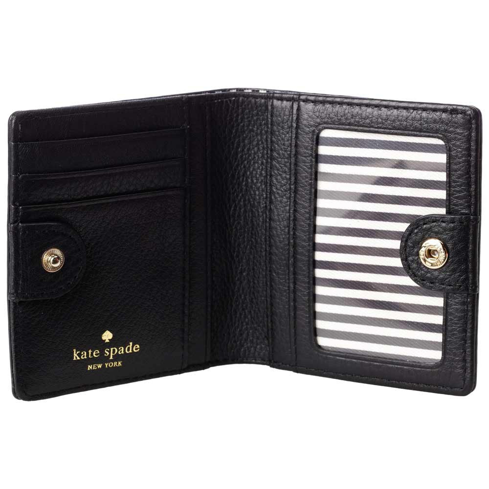 Kate Spade PWRU3310-001 Women's Cobble Hill Small Stacy Black Pebbled Leather Wallet