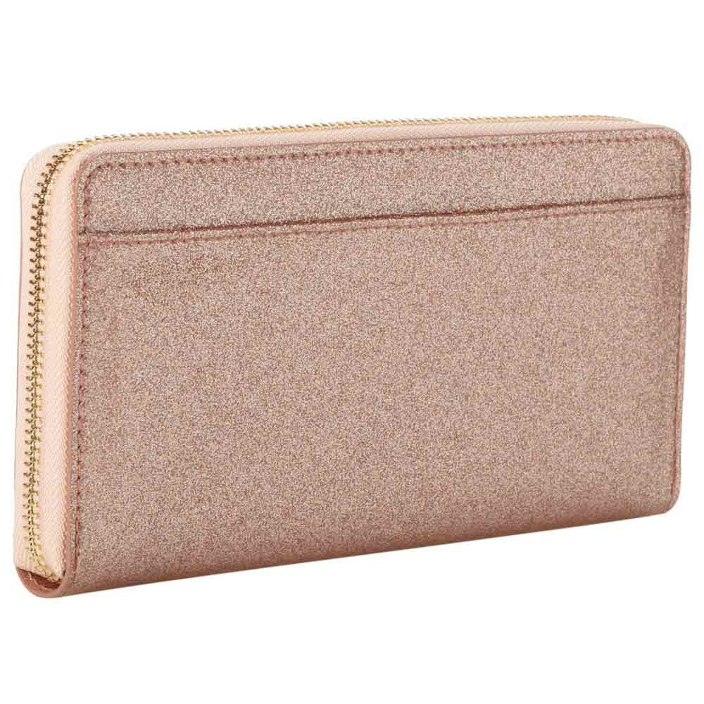 Kate Spade PWRU3470-705 Women's Glitter Bug Lacey Zip-Around Rose Gold Faux Leather Wallet