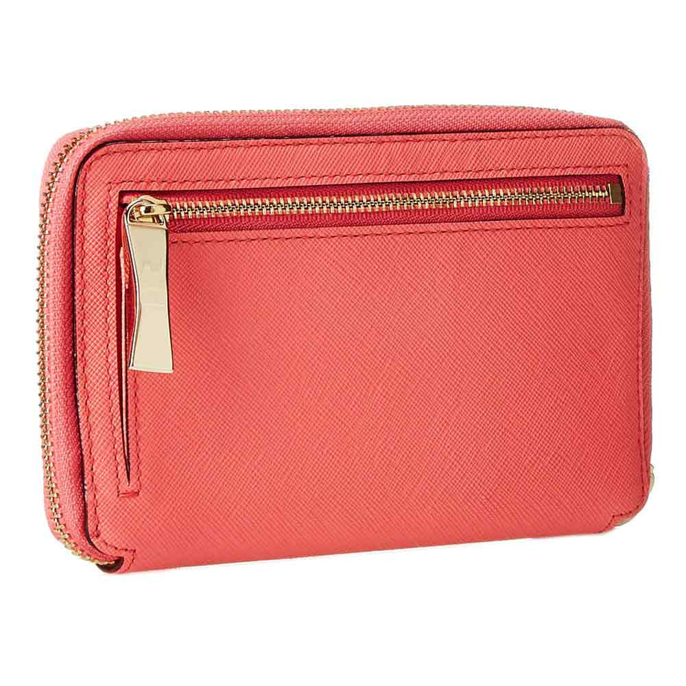 Kate Spade PWRU3719-659 Women's Cherry Lane Laurie Zip-Around Wristlet Surprise Coral Leather Wallet