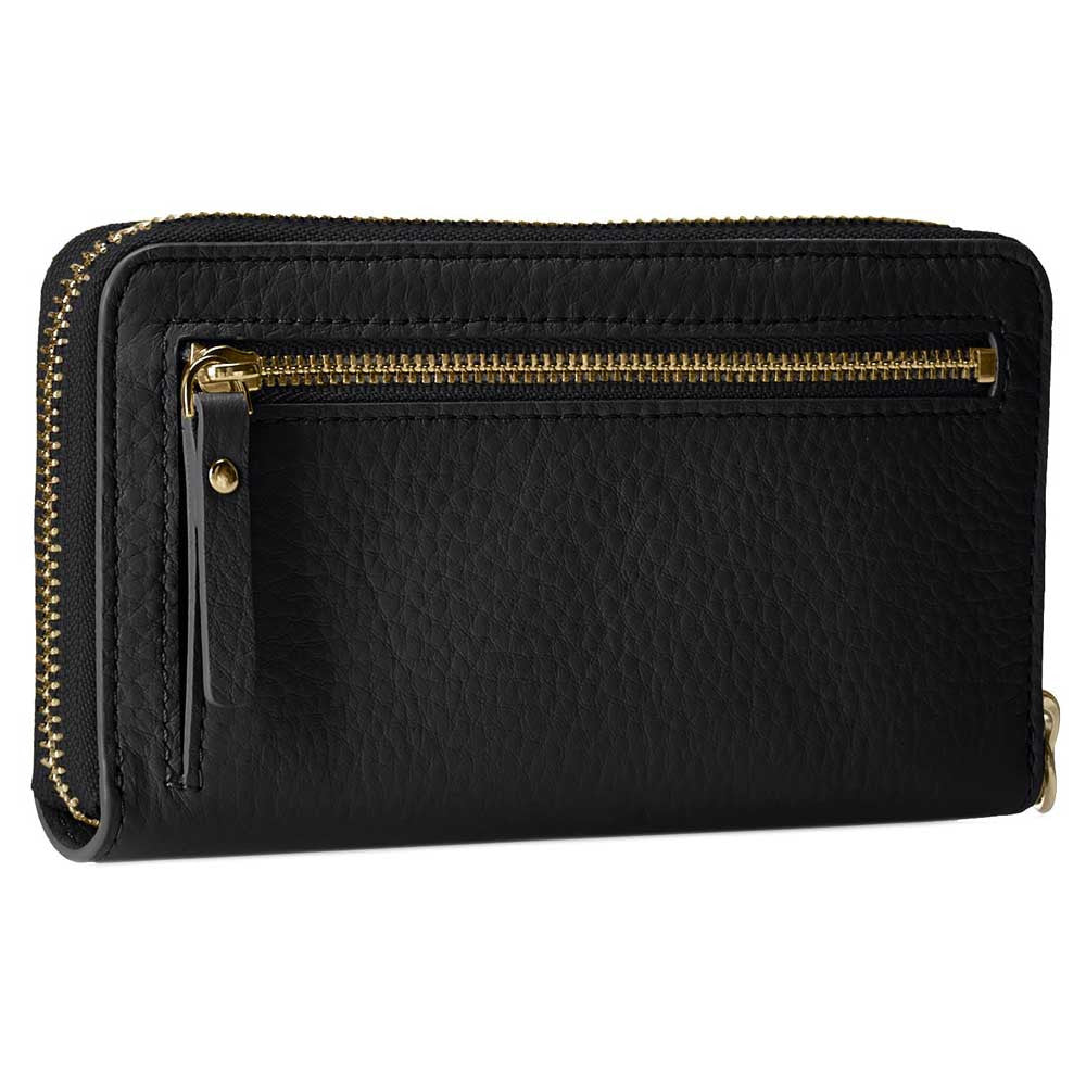 Kate Spade PWRU3842-001 Women's Cobble Hill Medium Lacey Zip-Around Wristlet Black Leather Wallet