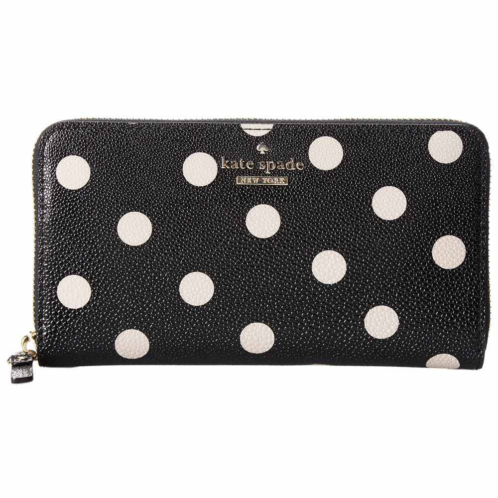 Kate Spade PWRU3913-096 Women's Cedar Street Dot Lacey Black Vinyl Zip-Around Wallet