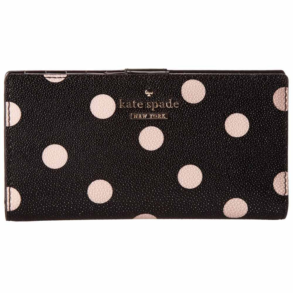 Kate Spade PWRU3916-096 Women's Cedar Street Dot Stacy Black Vinyl Continental Wallet