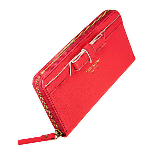Kate Spade PWRU3940-665 Women's Cobble Hill Bow Lacey Zip Around Bright Geranium Leather Wallet