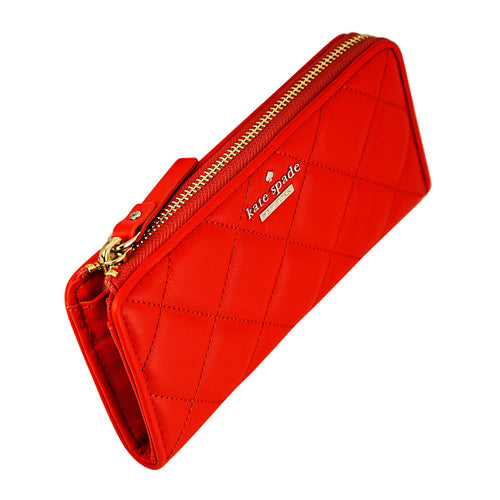 Kate Spade PWRU4230-608 Women's Emerson Place Nisha Zip Around Cajun Shrimp Leather Wallet