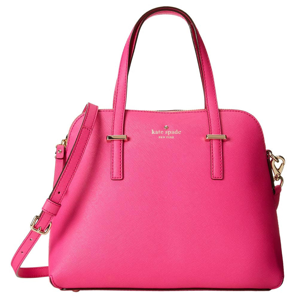 Kate Spade PXRU4471-950 Women's Cedar Street Maise True Vivid Snapdragon Crosshatched Leather Shoulder Bag