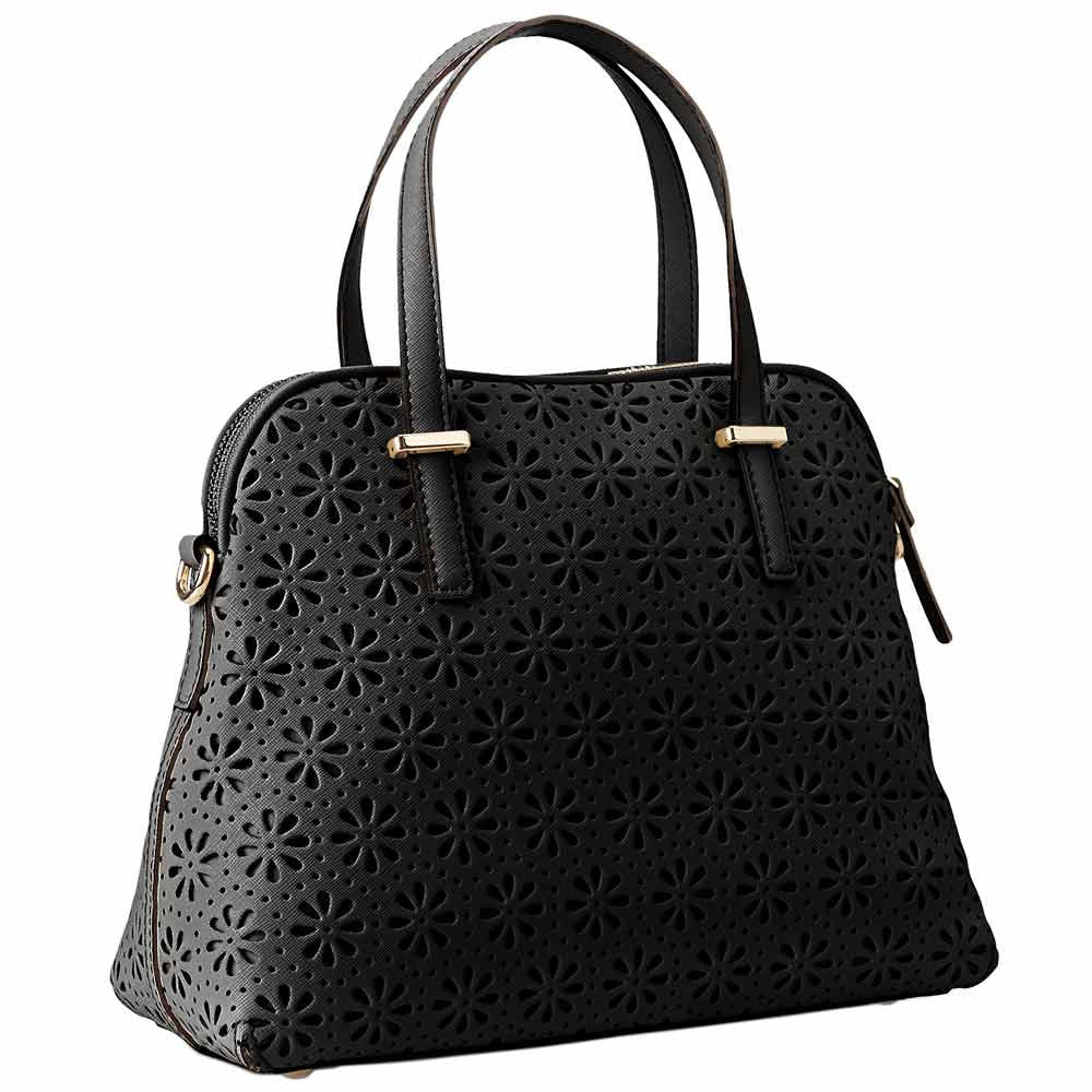 Kate Spade PXRU4939-001 Women's Cedar Street Perforated Maise Black Leather Shoulder Bag