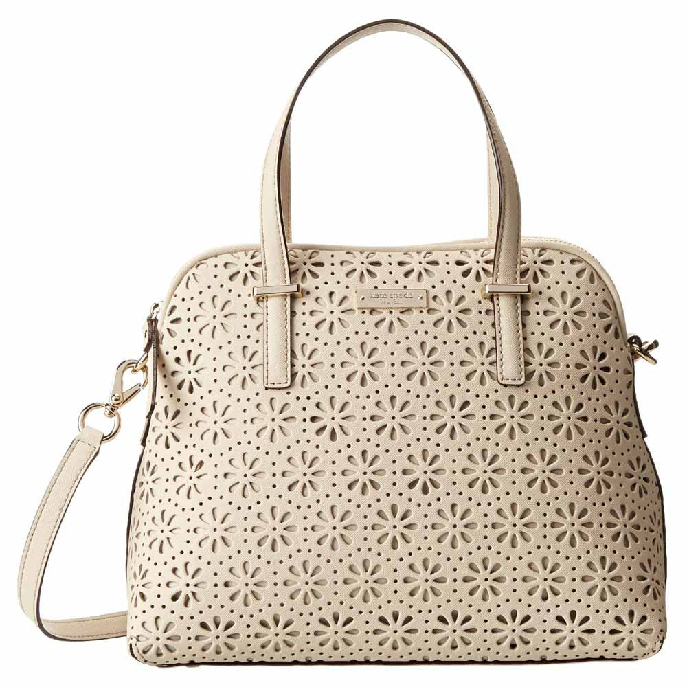 Kate Spade PXRU4939-123 Women's Cedar Street Perforated Maise Crema De Vie Leather Shoulder Bag
