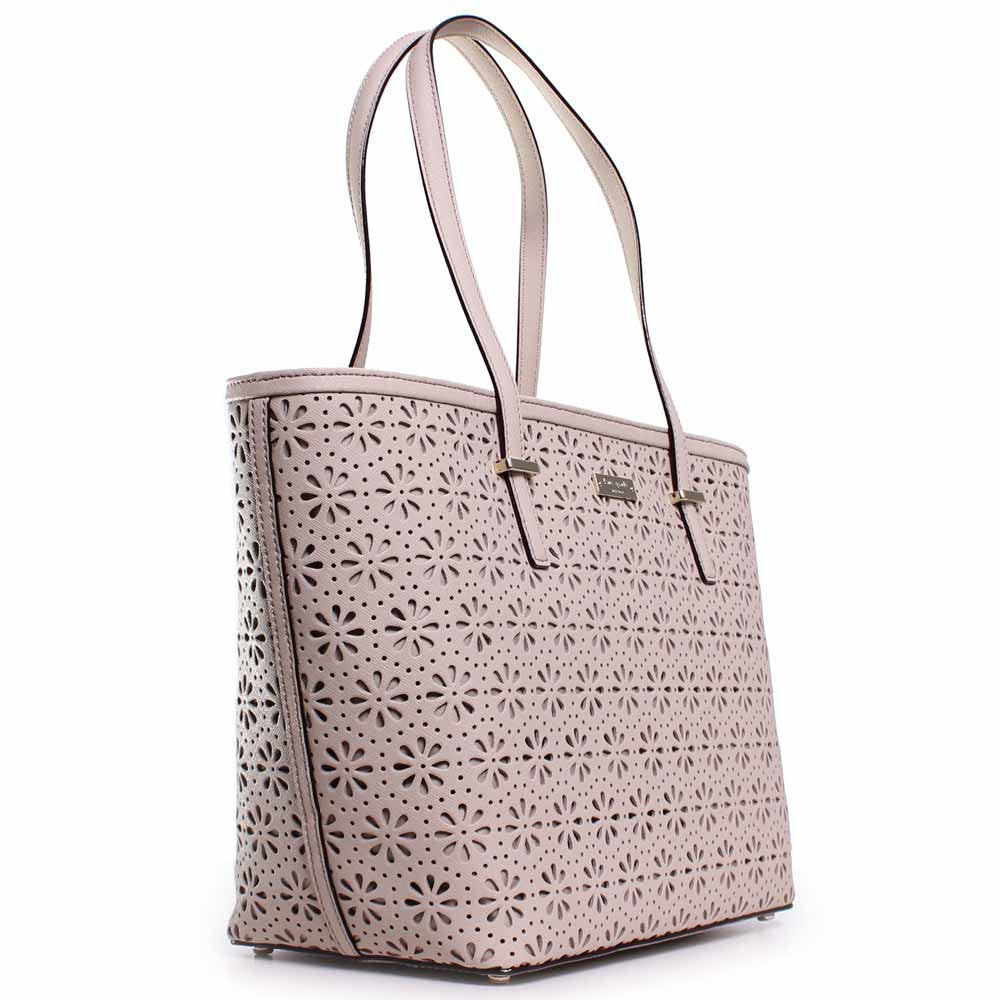 Kate Spade PXRU4941-123 Women's Cedar Street Perforated Small Harmony Crema De Vie Leather Tote
