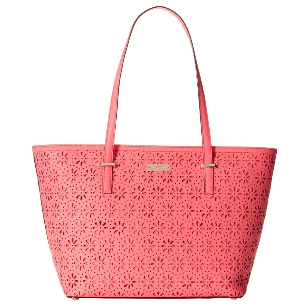 Kate Spade PXRU4941-659 Women's Cedar Street Perforated Small Harmony Surprise Coral Leather Tote
