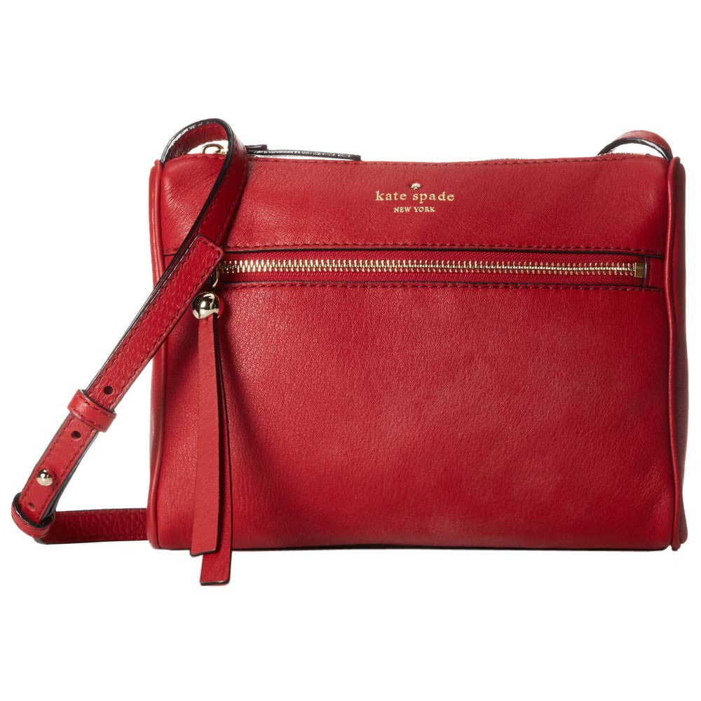 Kate Spade PXRU4942-616 Women's Charles Street Cayli Dynasty Red Pebbled Leather Shoulder Bag