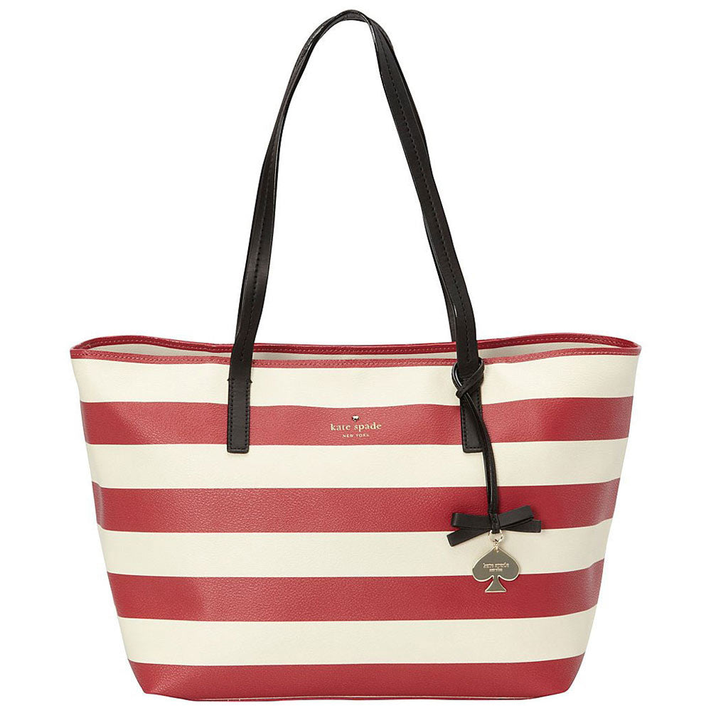 Kate Spade PXRU4982-128 Women's Hawthorne Lane Ryan Deco Beige/Dynasty Red Leather Tote