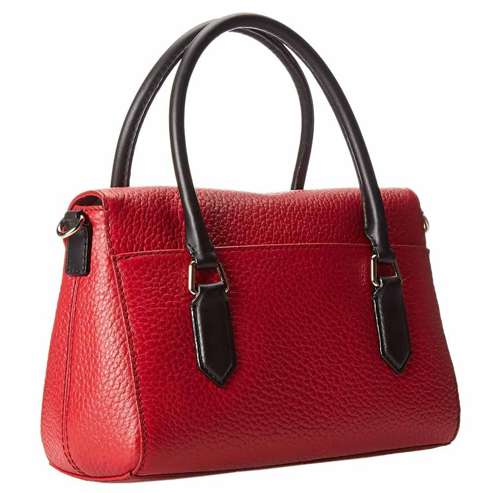 Kate Spade PXRU5183-618 Women's Grove Court Small Leslie Dynasty Red/Black Pebbled Leather Shoulder Bag