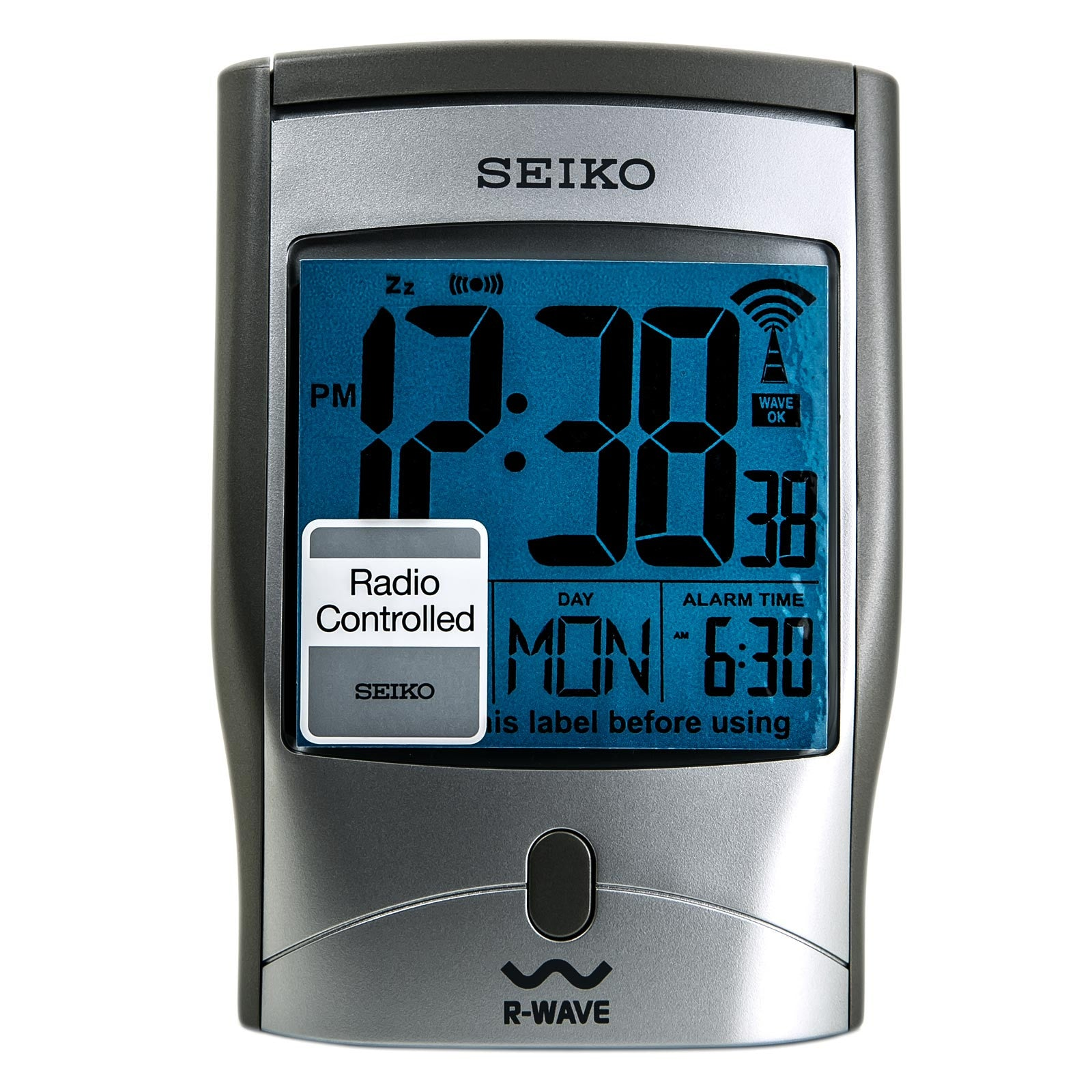 Seiko QHR001SLH Get Up And Glow Silver Metallic Travel Alarm Clock