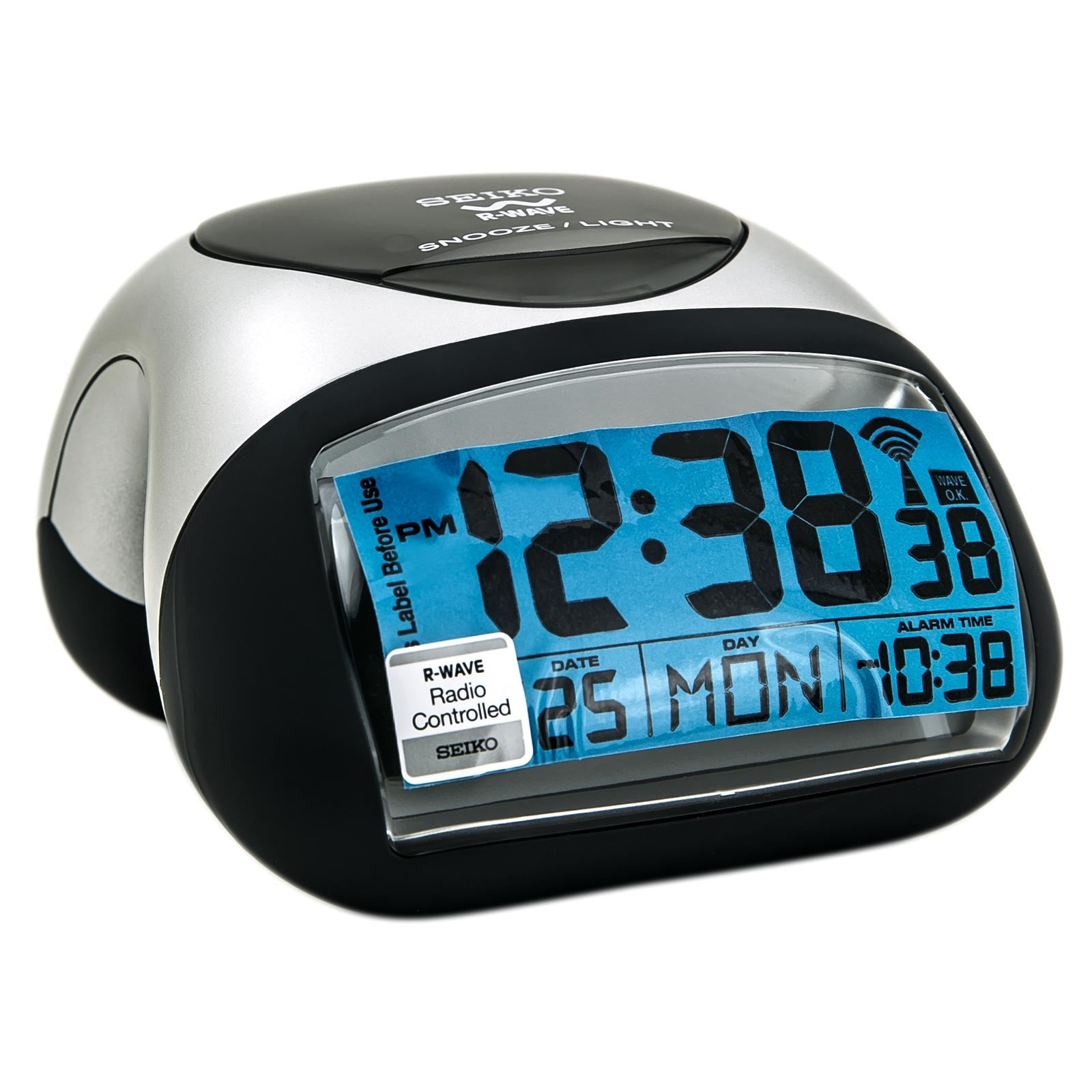 Seiko QHR008SLH Get Up & Glow R-Wave Bedside Digital Alarm Clock