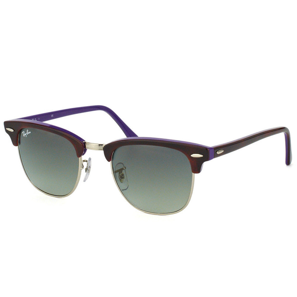 ray ban havana on violet new clubmaster sunglasses  ray ban rb 3016 1128 71 51 clubmaster gradient gray lens havana violet sunglass