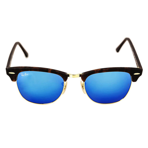 Ray-Ban RB 3016 1145-17 51 Unisex Clubmaster Blue Flash Lenses Tortoise Acetate & Gold Metal Frame Sunglasses