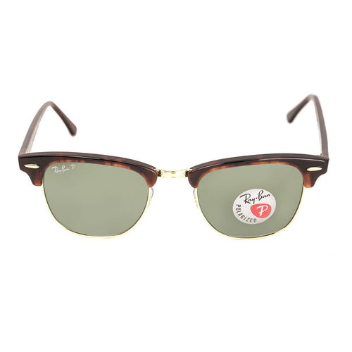 Ray-Ban RB 3016 990-58 49 Men's Clubmaster Classic Polarized Green Classic G-15 Lenses Tortoise Acetate Frame Sunglasses