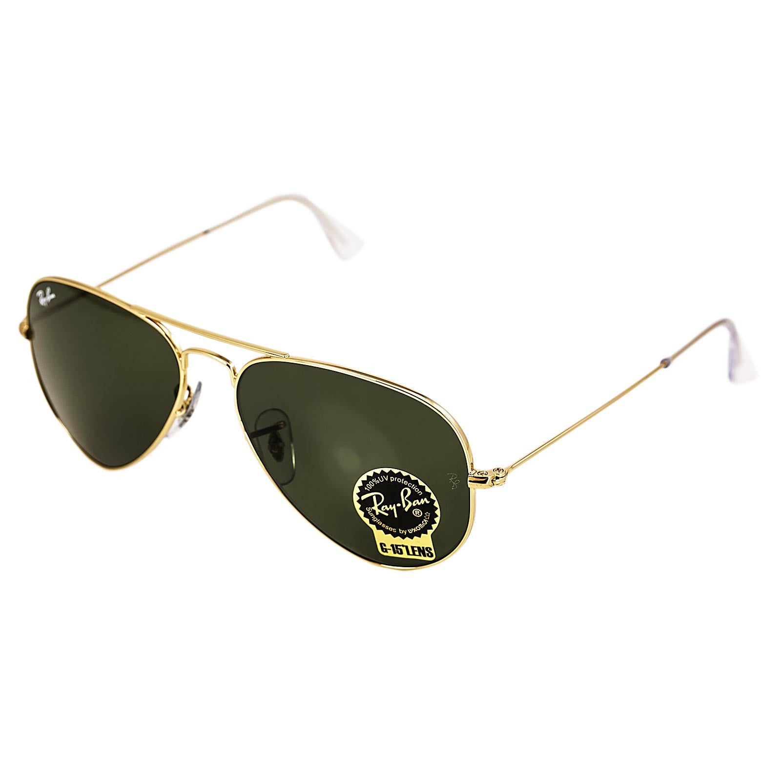 Ray-Ban RB 3025 W3234 55 Aviator Green Lenses Gold Tone Metal Frame Sunglasses