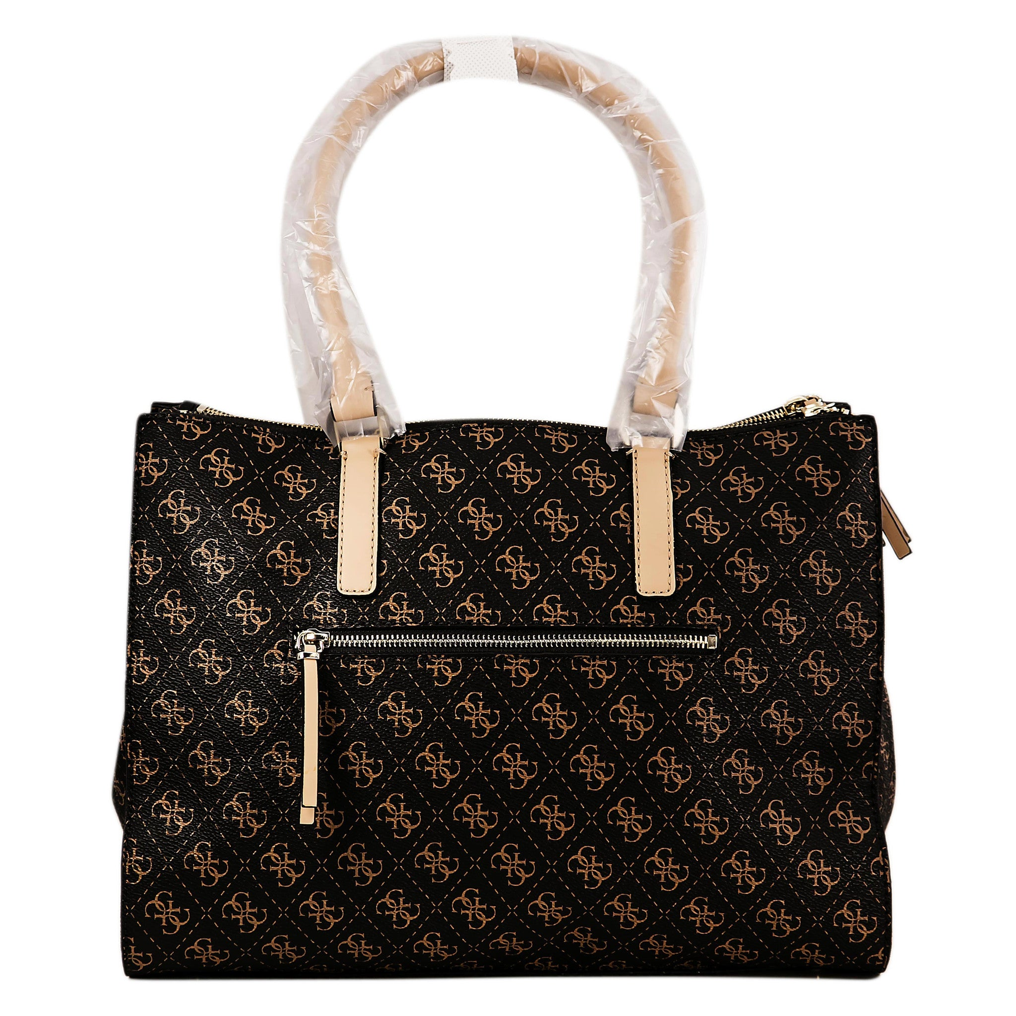Guess SG493023BRO Women's Greyson Quattro G Logo Brown PVC Faux Leather Status Carryall