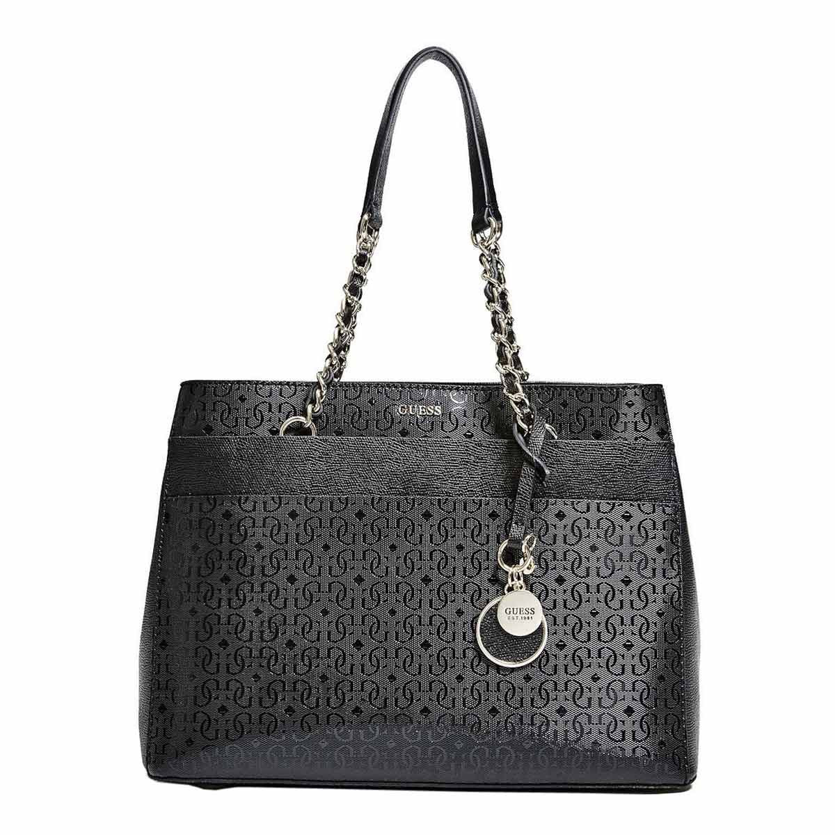 Guess SG641409BLA Women's Janette Quattro G Logo Black Faux Leather Girlfriend Satchel