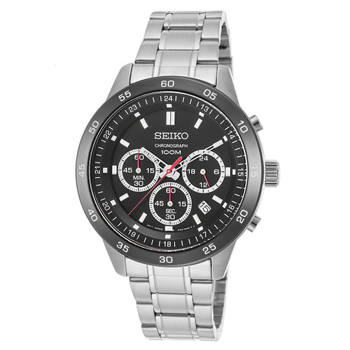 Seiko SKS527P1 Men's Neo Sport Chronograph Black Dial Stainless Steel Bracelet Watch
