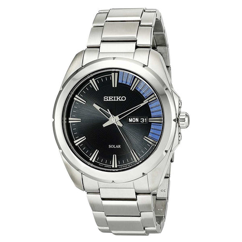 Seiko SNE415 Men's Recraft Solar Black Dial Steel Bracelet Power Reserve Watch