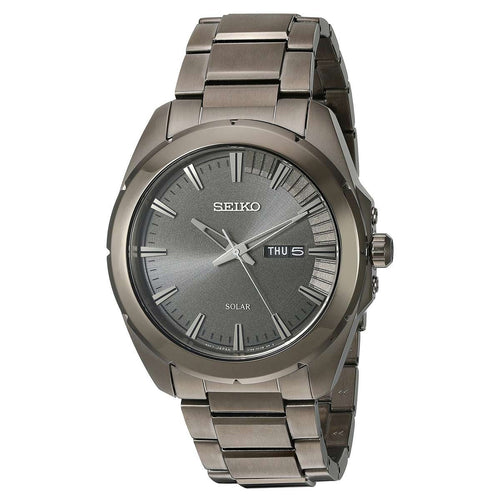 Seiko SNE419 Men's Recraft Grey Dial Grey IP Stainless Steel Solar Watch
