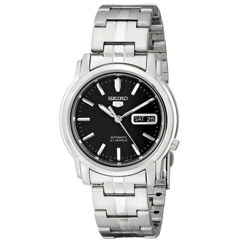 Seiko SNKK71 Men's 5 Automatic Black Dial Stainless Steel Bracelet Day Date Watch